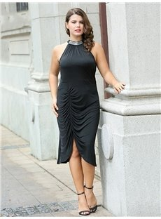 Pure Color Dissymmetry Soft Polyester Knitting Technics Plus Size Dress