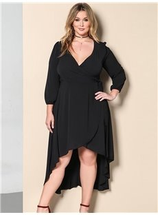 Long Sleeve Pure Color Polyester Autumn Plus Size Dress