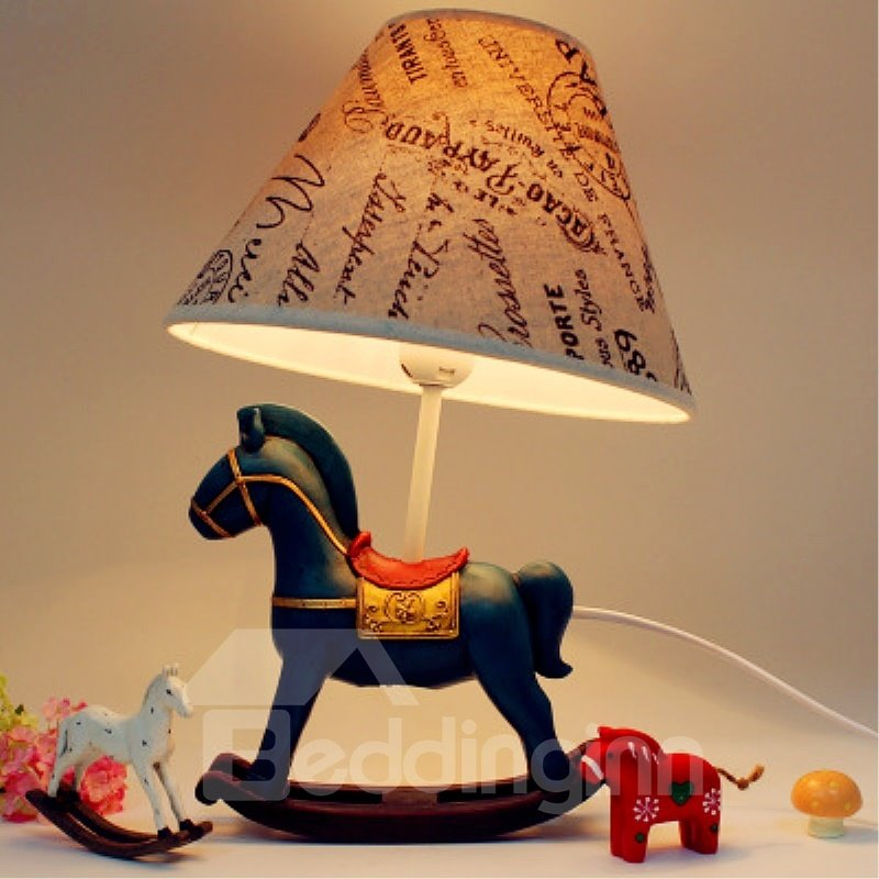 Retro Cartoon Horse Environmental Friendly Resin Material Kids Room Lamp