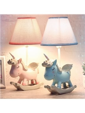Environmental Friendly Resin Material 7.9*13.6in Cartoon Unicorn Kids Room Lamp