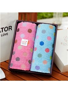 Cotton Rectangular Polka Dots Indoor Face&Hand Towel