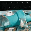 Golden Geometric Pattern Jacquard Smooth Satin 4-Piece Bedding Sets/Duvet Cover