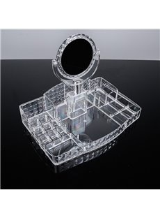 Firm Acrylic Material Environment Friendly 33.4*22.4*26.1cm With Mirror Cosmetic Storage Box