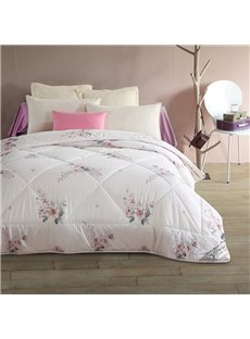 Plain White with Flower Design Reactive Printing Cotton Quilt