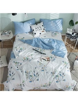 Light Blue Tree Reactive Printing White Cotton Quilt