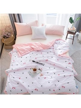 Cartoon Flamingo and Tropical Tree Printing Polyester Quilt