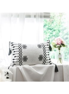 Geometric Pattern Cotton Breathable Soft White Lumbar Pillowcase