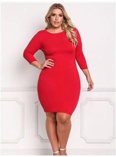 Slim Model Bottoming Knee-Length Soft Polyester Plus Size Dress