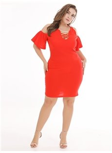 Pure Color Off-The-Shoulder Polyester European Style Plus Size Dress