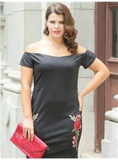 Pure Color Boat Neck Stitchwork Spandex Knee-Length Plus Size Dress