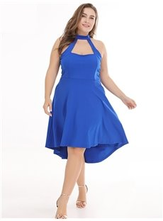 A-Line Silhouette Knee-Length Sleeveless Plus Size Dress