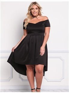 Off-Shoulder Strapless Irregular Polyester Soft Plus Size Dress