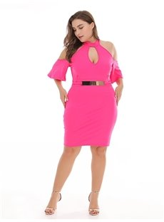 High-Waist Off-The-Shoulder Pure Color Plus Size Dress