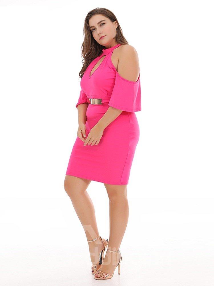 High-Waist Off-The-Shoulder Pure Color Plus Size Dress