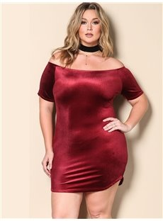 Pure Color Off Shoulders Short Sleeve Slim Model Plus Size Dress