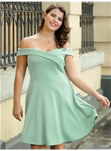 High-Waist A-Line Silhouette Pure Color Plus Size Dress