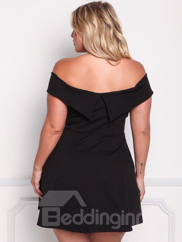 High-Waist A-Line Silhouette Pure Color Plus Size Dress