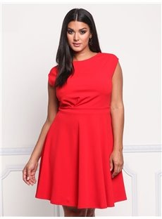 High-Waist Sleeve A-Line Silhouette Polyester Plus Size Dress