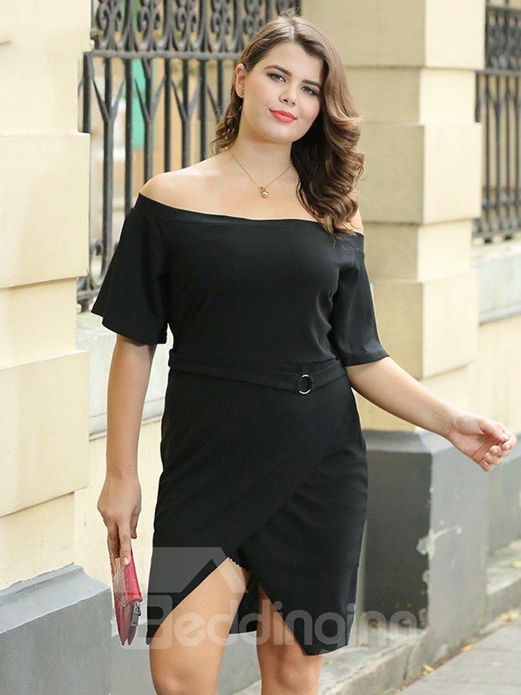 Off Shoulders Irregular Slim Model Pure Color European Style Plus Size Dress