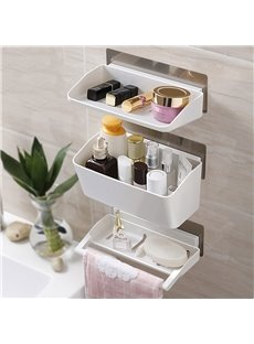 Free of Punch Traceless Wall Mounted Plastic Bathroom Storage Rack