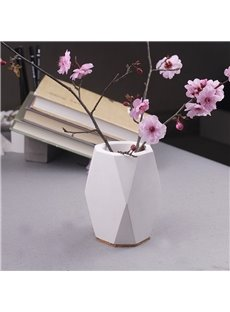 Nordic Style Ceramic Plain Pattern Polygon Stationery Storage Box