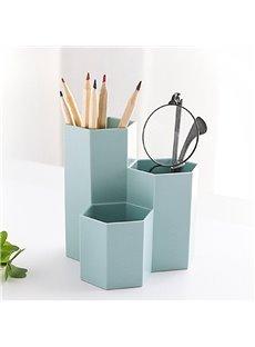 Korean Style Hexagon Plastic Plain Pattern Stationery Storage Box