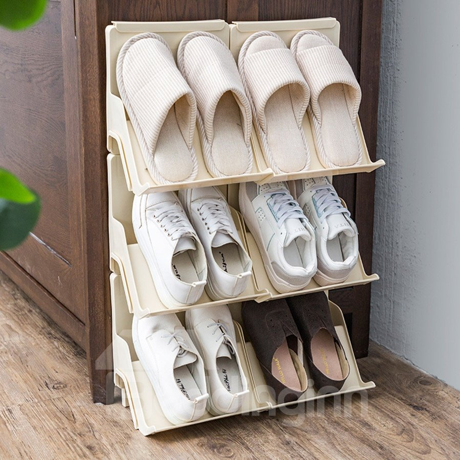 Simple Style Plastic Multilayer Living Room Shoe Rack