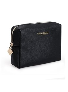 High Capacity Simple Style PU Leather Storage Bag