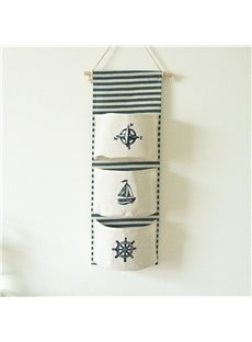 Mediterranean Linen Accordion Pockets Wall-Hanging Storage Bag