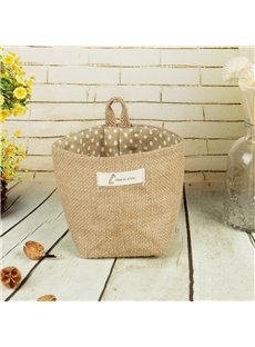 Linen Flower Pot Suspension Type Cylinder Type Storage Bag