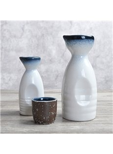 Japanese Style Ceramic Plain Pattern Wine Pot