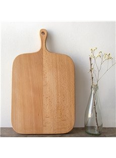 Natural Wood Square Shape Handle Pizza Plate