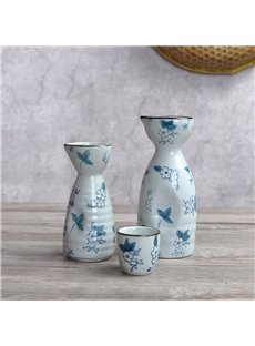 Ceramic Japanese Style Creative Floral Pattern Wine Pot