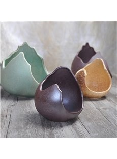 Japanese Style Ceramic Irregular Form Pure Color Bowl
