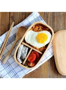 Rubber Wood Simple Style Pure Color Lunch Box