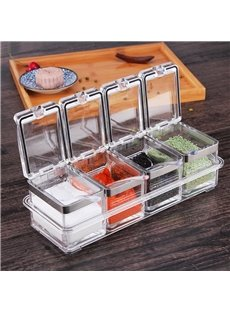 European Style Acrylic With Lid 4 Pieces Solid Seasoning Condiment Dispenser