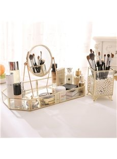 European Style Retro Glass Metal Mirror Tray Storage Box