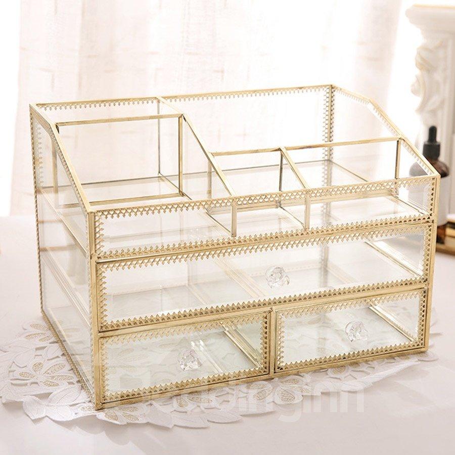 Retro Bronze Glass Three Layers Cosmetics Storage Box