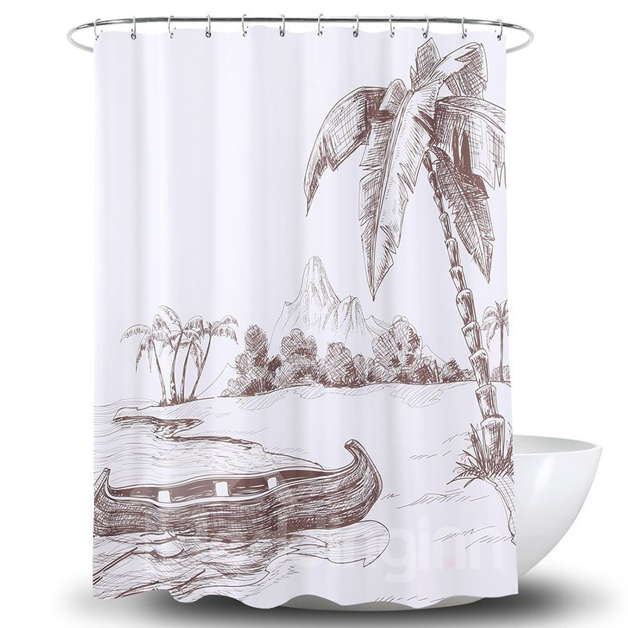 Keeping Warm 3D Printing Pattern Polyester Shower Curtain