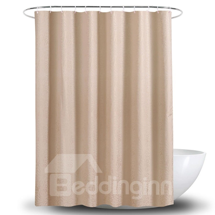 Mildew Proof Camel Polyester Plain Pattern Shower Curtains