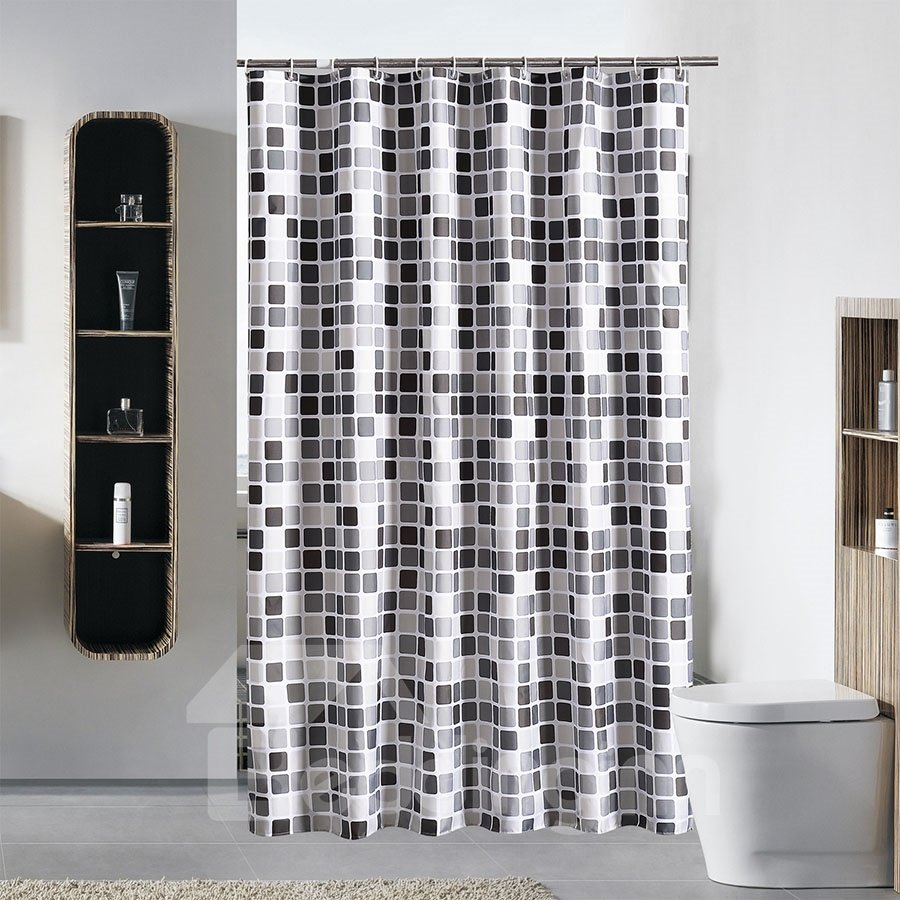 Mosaic Pattern Extra-Thick Waterproof Polyester Shower Curtains