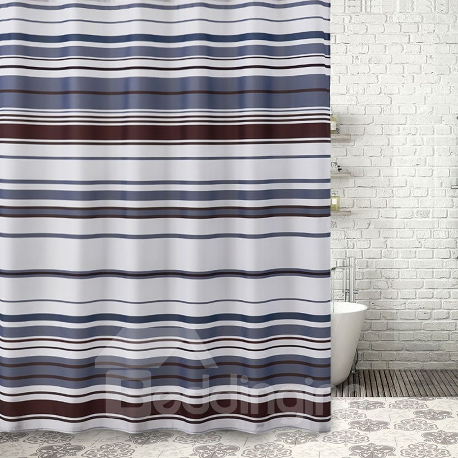 Color Block Stripe Pattern Polyester Japanese Style Shower Curtains
