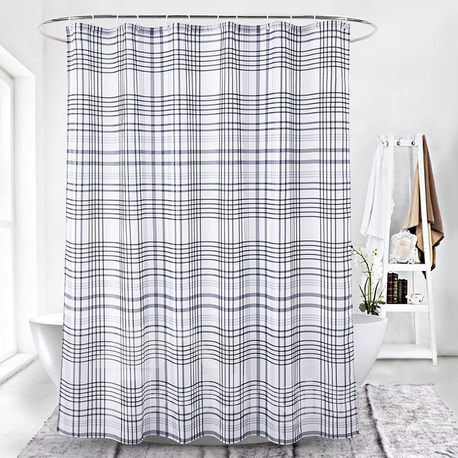 Digital Printing Simple Style Stripe Pattern Shower Curtains