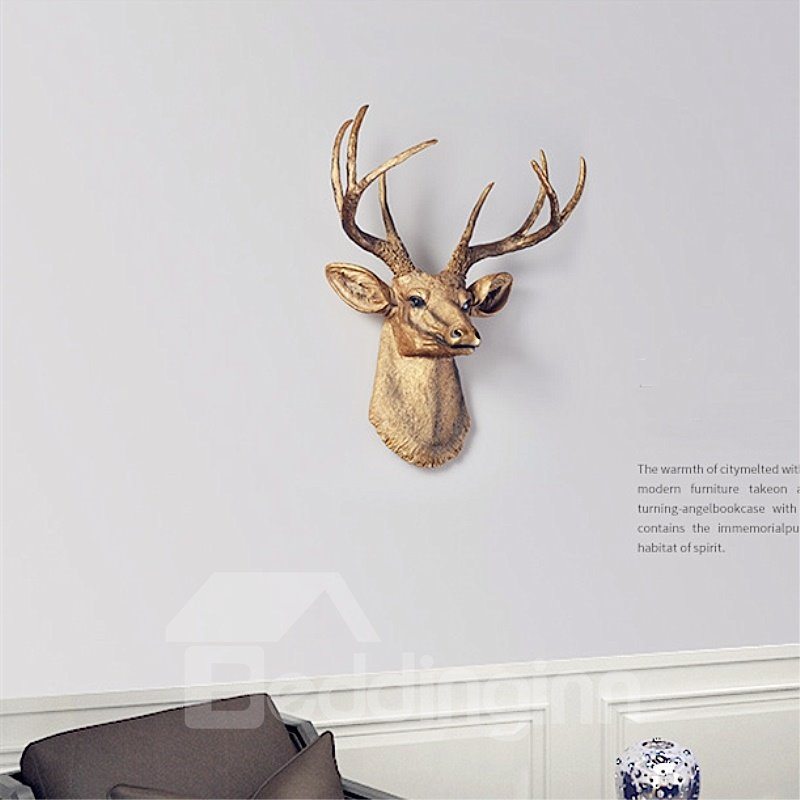 Vivid Elk Head Resin Material Environment Friendly 2 Color Room Decor Wall Art