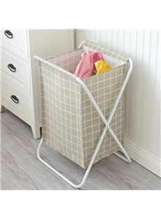 Removable Waterproof Grid Pattern Canvas Laundry Bag