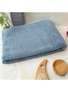 Japanese Style Coral Fleece Rectangular Plain Pattern Bath Towel