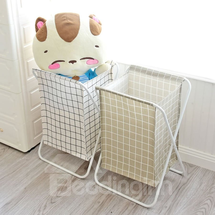 Grid Pattern Multifunction Japanese Style Canvas Storage Organizer