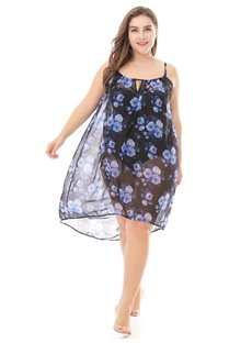 Printing Bikini Beach Smock Urban Casual Style Plus Size Dress