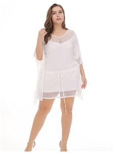 Joint Beach Smock Pure Color Polyester Plus Size Dress