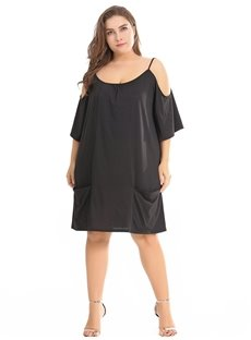 Off-The-Shoulder Loose Model Knitting Technics Plus Size Dress